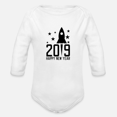 Fireworks Happy New Year 2019 - Organic Long-Sleeved Baby Bodysuit