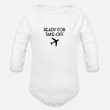 Take-off-plane Ready for take off plane flight attendant - Organic Long-Sleeved Baby Bodysuit