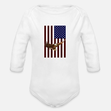 American American Flag with American Eagle - Organic Long-Sleeved Baby Bodysuit
