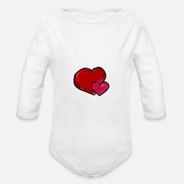 Heart Heart to heart heart to heart - Organic Long-Sleeved Baby Bodysuit