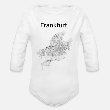 Handkaes stylized street map Frankfurt - Organic Long-Sleeved Baby Bodysuit