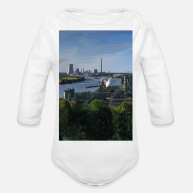 View of the Rhine Duisburg Voerde Niederrhein - Organic Long-Sleeved Baby Bodysuit