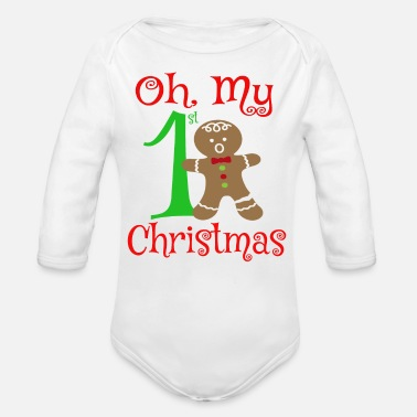 Christmas Oh My 1st Christmas - Organic Long-Sleeved Baby Bodysuit