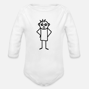 Energetically Stick figure energetic - Organic Long-Sleeved Baby Bodysuit