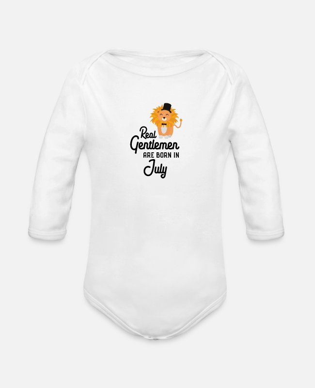 Young Baby Bodysuits - Real Gentlemen are born in July Sp8i5 - Organic Long-Sleeved Baby Bodysuit white