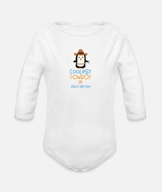 Sunset Baby Bodys - Coolest Cowboy Penguin in Great Britain Gift - Baby Bio Langarmbody Weiß