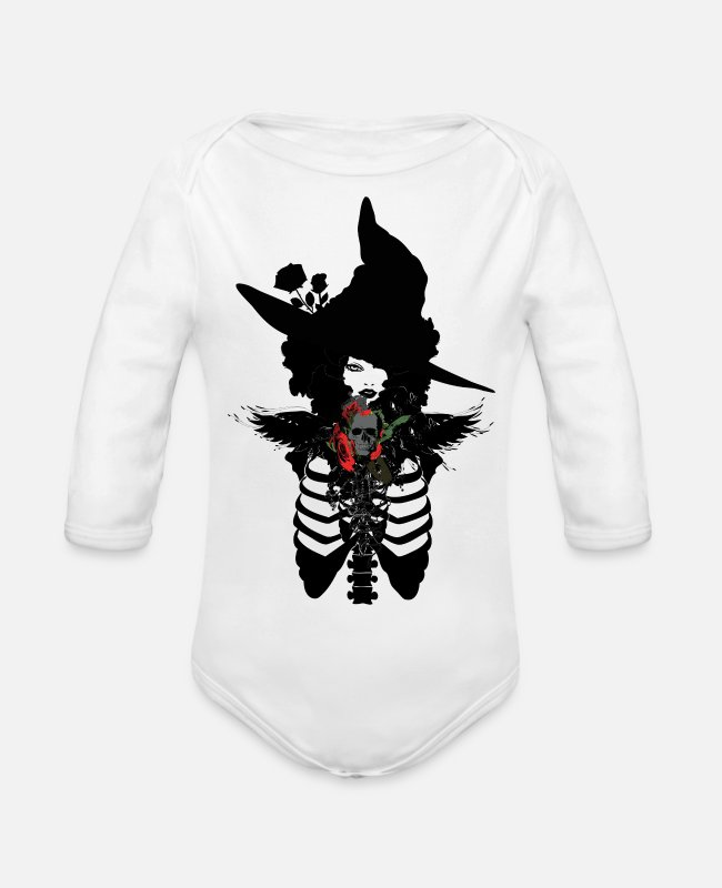 Bon Baby Bodysuits - Sexy witch - Organic Long-Sleeved Baby Bodysuit white