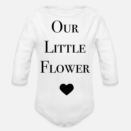 Love Baby Clothes - Our Little Flower - Organic Long-Sleeved Baby Bodysuit white
