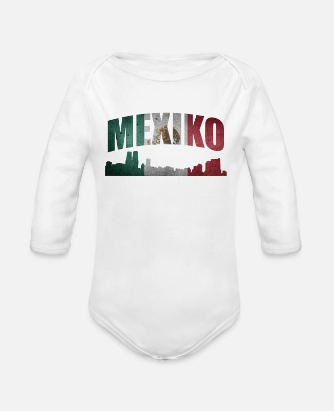 Central America Baby Bodysuits - Mexico - Organic Long-Sleeved Baby Bodysuit white