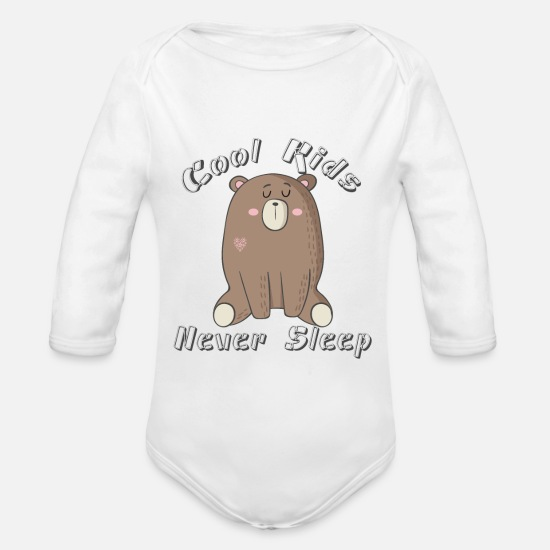 Cool  Babykleding - Cool Kids-Never Sleep - Rompertje met lange mouwen wit
