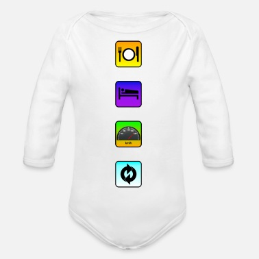 Streaker App 4. Eat Sleep Drive Repeat. Vertical - Organic Longsleeve Baby Bodysuit