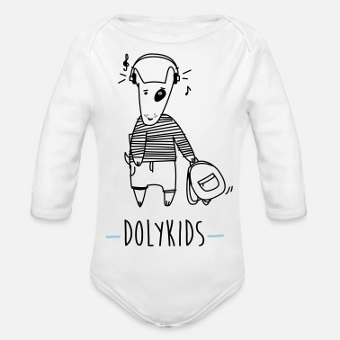 Funny Dog Music Clem Version by Dolykids - Organic Long-Sleeved Baby Bodysuit