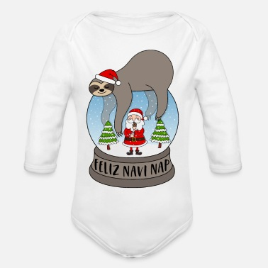 Christmas Sloth snow globe saying Feliz Navi Nap Santa - Organic Long-Sleeved Baby Bodysuit