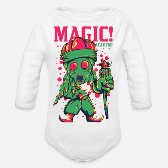 Game Baby Clothes - Magic Academy - Organic Long-Sleeved Baby Bodysuit white