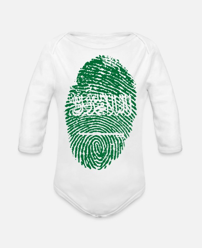 Mohamed Baby Bodysuits - SAUDI ARABIA / ARABIA FINGERABPRUCK - Organic Long-Sleeved Baby Bodysuit white