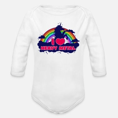 Heavy I love heavy metal unicorn hard rock hard rock - Organic Long-Sleeved Baby Bodysuit