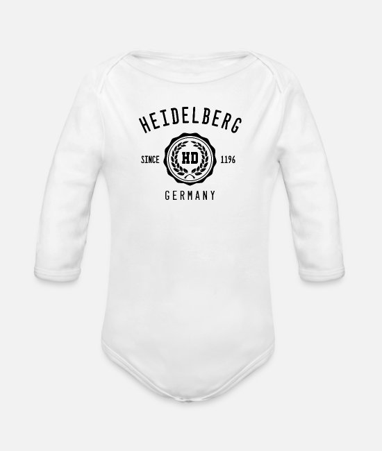 Heidelberger Castle Baby Bodysuits - Heidelberg - Organic Long-Sleeved Baby Bodysuit white