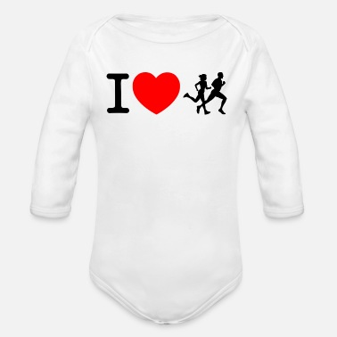 Sprinten I love racing - jogging - Organic Long-Sleeved Baby Bodysuit