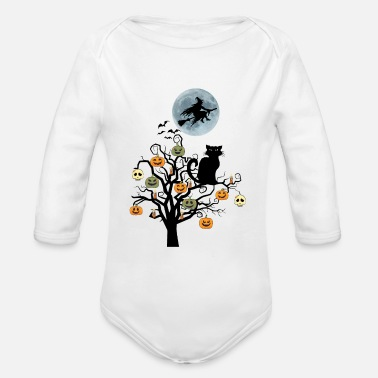 Tree Halloween Black Cat Pumpkin - Organic Long-Sleeved Baby Bodysuit