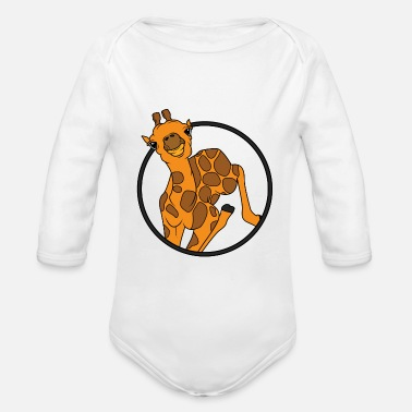 Giraffe Baby giraffe with horns - Organic Long-Sleeved Baby Bodysuit