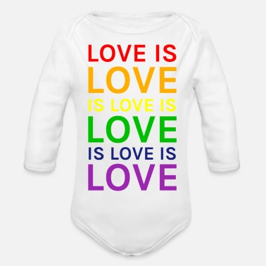 Lovely Love is Love is Love is Love Rainbow - Organic Longsleeve Baby Bodysuit