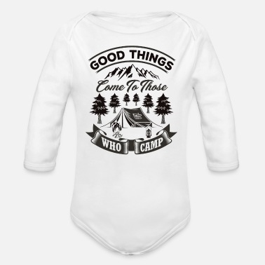 Friendship Good Things Come To Those Who Camp bw - Organic Long-Sleeved Baby Bodysuit