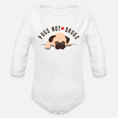 Dogowner Pugs Not Drugs Graphic - Organic Long-Sleeved Baby Bodysuit