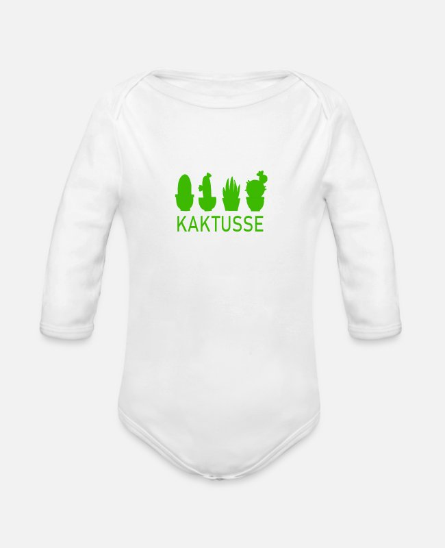 Nature Baby Bodysuits - cactuses - Organic Long-Sleeved Baby Bodysuit white