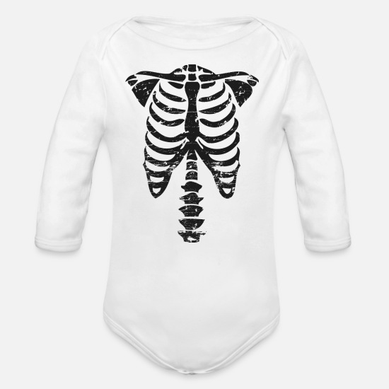 Skeleton Baby Clothes -  Bone skeleton - Organic Long-Sleeved Baby Bodysuit white