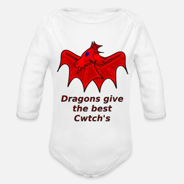 Wale wales dragons give the best cwtch's - Organic Longsleeve Baby Bodysuit