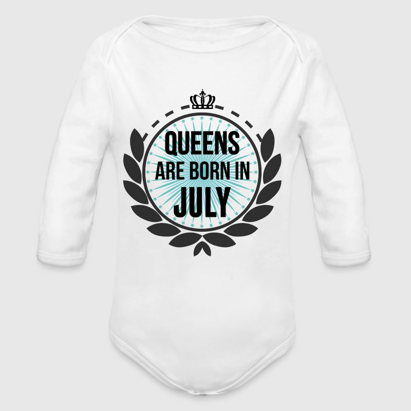 Queens Are Born In July - Organic Longsleeve Baby Bodysuit