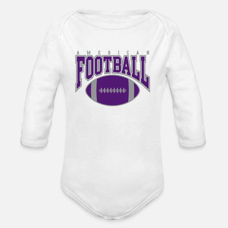 Ball Sport Baby Clothing - american football - rugby - Longsleeved-Sleeved Baby Bodysuit white