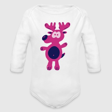 Xmas reindeer stag cerf deer Rudolph Xmas - Body ecologico per neonato a manica lunga