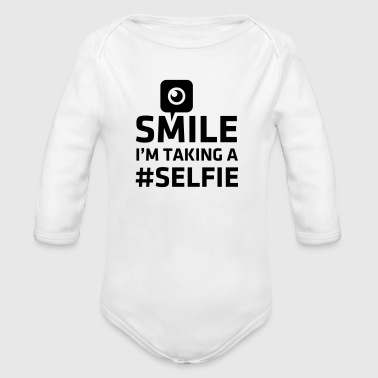 Love taking Selfie photo camera instagram smile - Body orgánico de manga larga para bebé