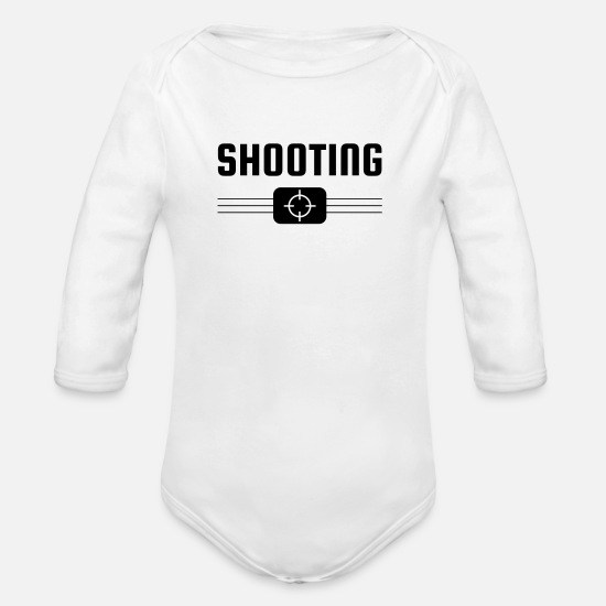 Sporty Baby Clothes - Sport Shooting - Sportschießen - Tir - Sport - Organic Long-Sleeved Baby Bodysuit white