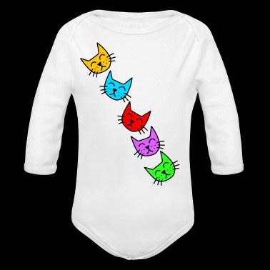 Funny colorful cat faces kitten gift - Organic Longsleeve Baby Bodysuit