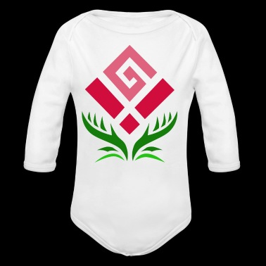 Geometric Rose Flower Areas Gift Idea - Organic Longsleeve Baby Bodysuit