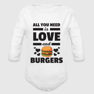 Funny All You Need is Love and Burgers T-Shirt - Organic Longsleeve Baby Bodysuit