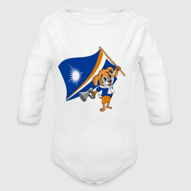 Marshall Islands fan dog - Baby bio-rompertje met lange mouwen