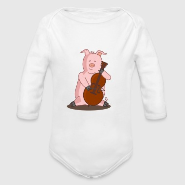Cello Playing Pig Music - Organic Longsleeve Baby Bodysuit