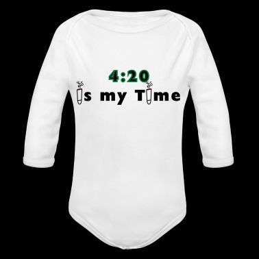420 is my time grass cannabis gift idea - Organic Longsleeve Baby Bodysuit
