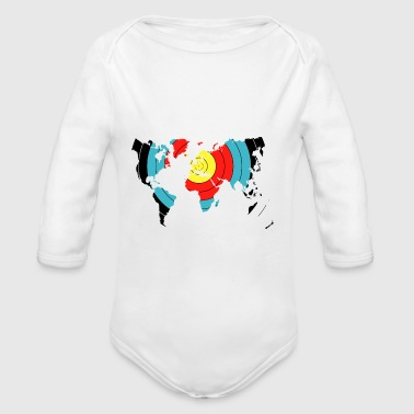 Archery World Map - Organic Longsleeve Baby Bodysuit