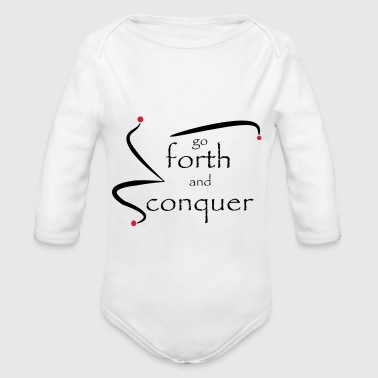 go_forth_red_black - Organic Longsleeve Baby Bodysuit