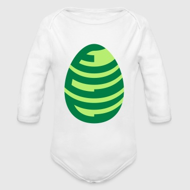 Egg Shaped Egg Text Two Colour - Baby Bio-Langarm-Body