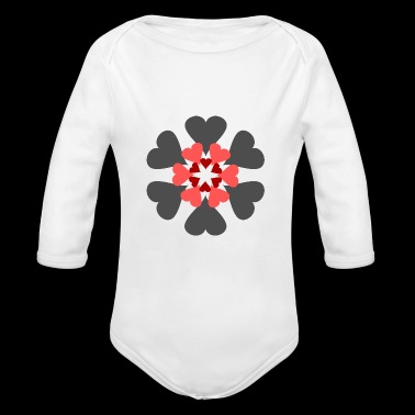 Hearts and circles - Organic Longsleeve Baby Bodysuit