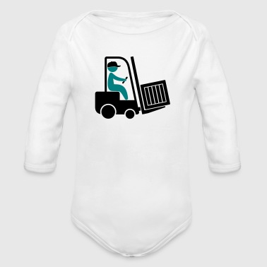 A forklift transporting a box - Organic Longsleeve Baby Bodysuit