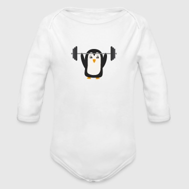 Penguin weight lifting - Organic Longsleeve Baby Bodysuit