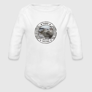 Happy lazy day for lazy seals in vintage look - Organic Longsleeve Baby Bodysuit