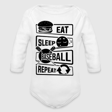 Eat Sleep Baseball Gjenta - Home Run Strike Batter - Økologisk langermet baby-body