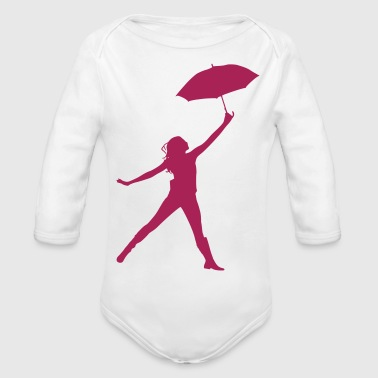 Silhouette women umbrella dancing - Baby Bio-Langarm-Body